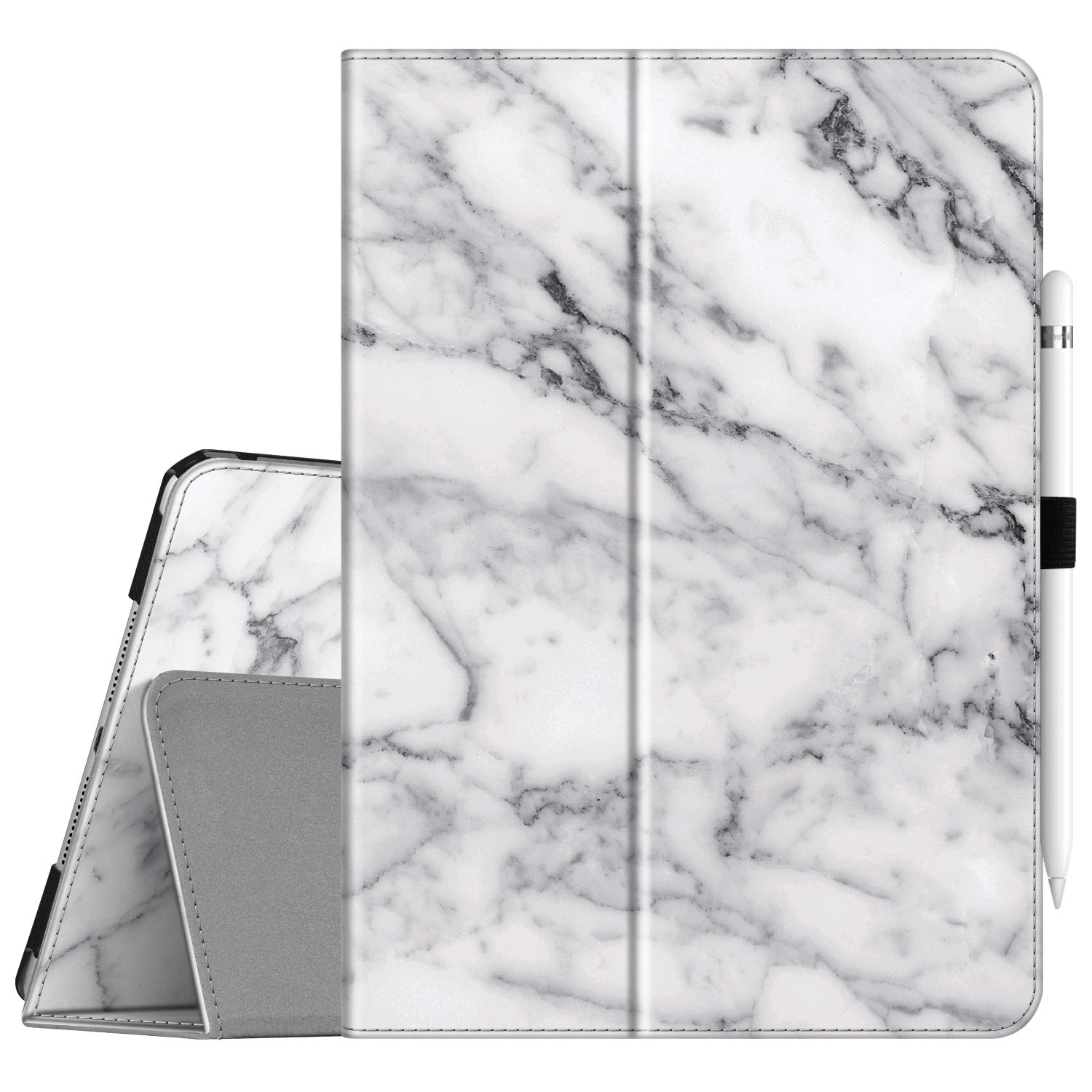 """Fintie Folio Case for New iPad 7th Generation 10.2 Inch 2019 - [Corner Protection] Premium Vegan Leather Smart Stand Back Cover with Pencil Holder, Auto Sleep/Wake for iPad 10.2"""" Tablet, Marble White"""