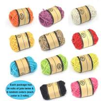 Bearals Jute Twine, 24 Roll Jute String, Twine Rope, Twine String Hemp Jute for Artworks, DIY Crafts, Gift Wrapping, Picture Display and Embellishments, Random Assorted Colors (11 Yards/Roll)