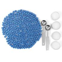 Blue Sealing Wax Beads, Yoption 300 Pieces Octagon Wax Seal Beads Kit with 2 Melting Spoon and 4 Candles for Seal Stamp (Sky Blue)