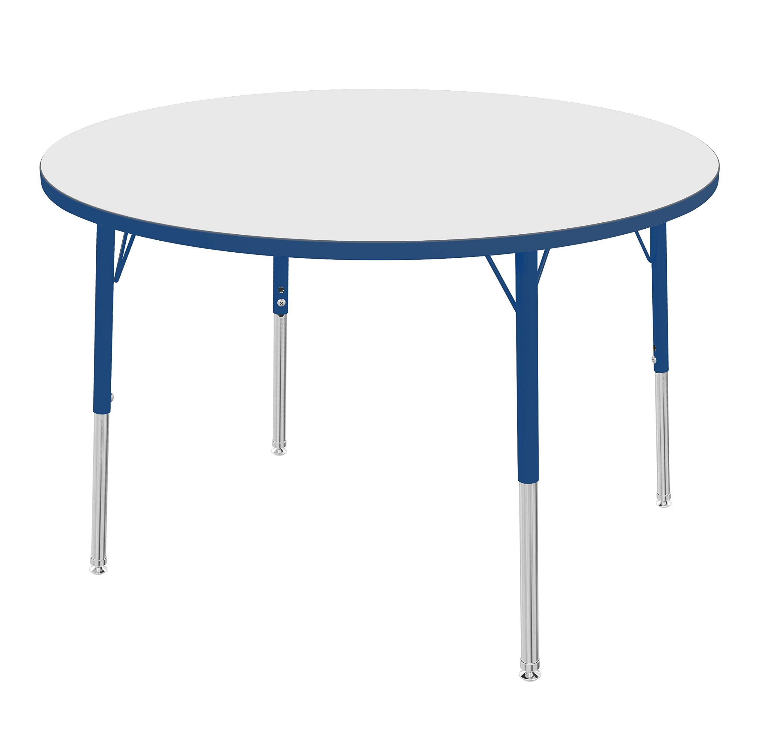 """Marco Group MGA2245-26-ABLU 42"""" Round Adjustable Height Classroom Activity Tables (16""""- 24"""") Toddler Size, Dry Erase-Top, Blue-Edge, Blue Leg"""
