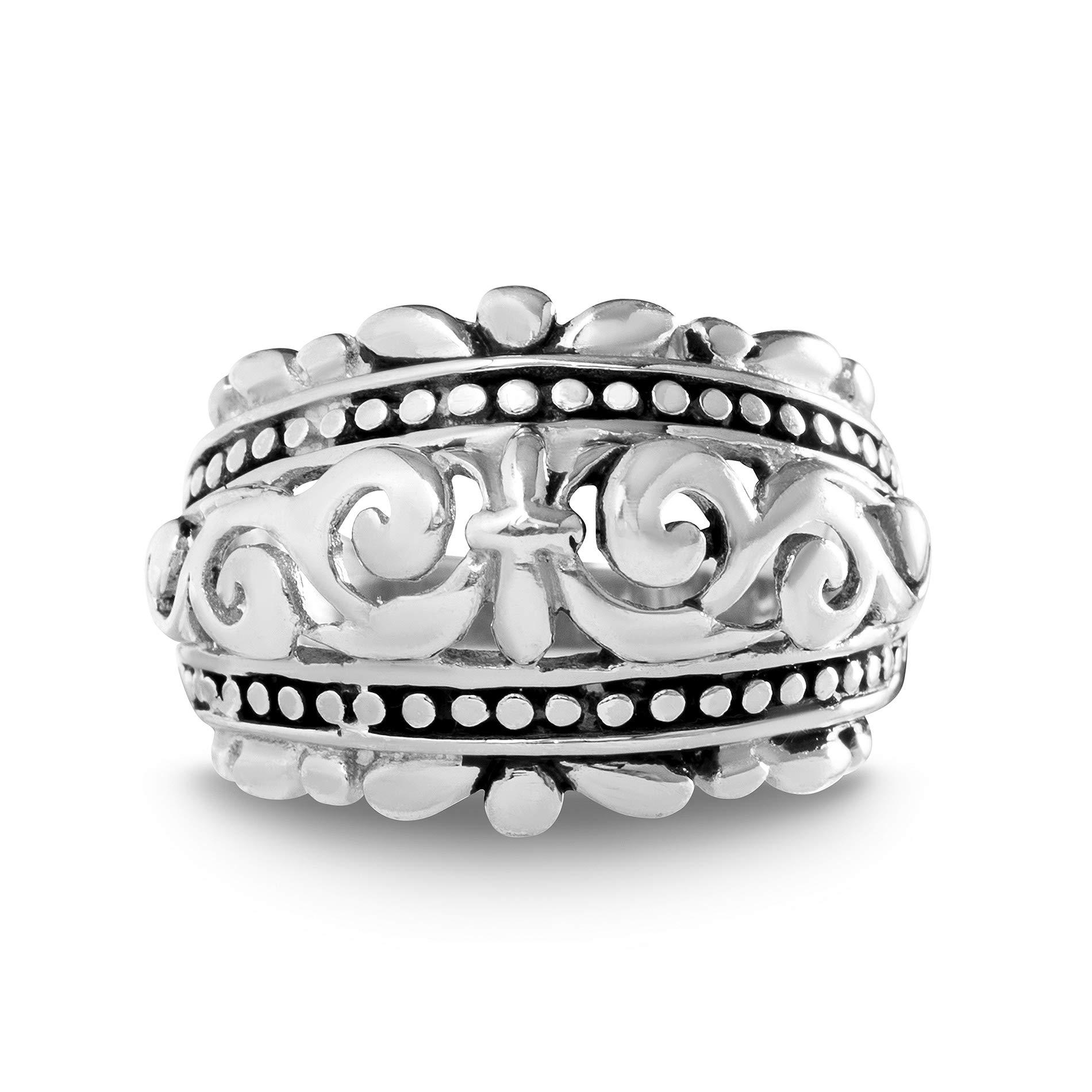 WILLOWBIRD Oxidized Sterling Silver Fleur De Lis Beaded Filigree Ring for Women (Various Sizes)
