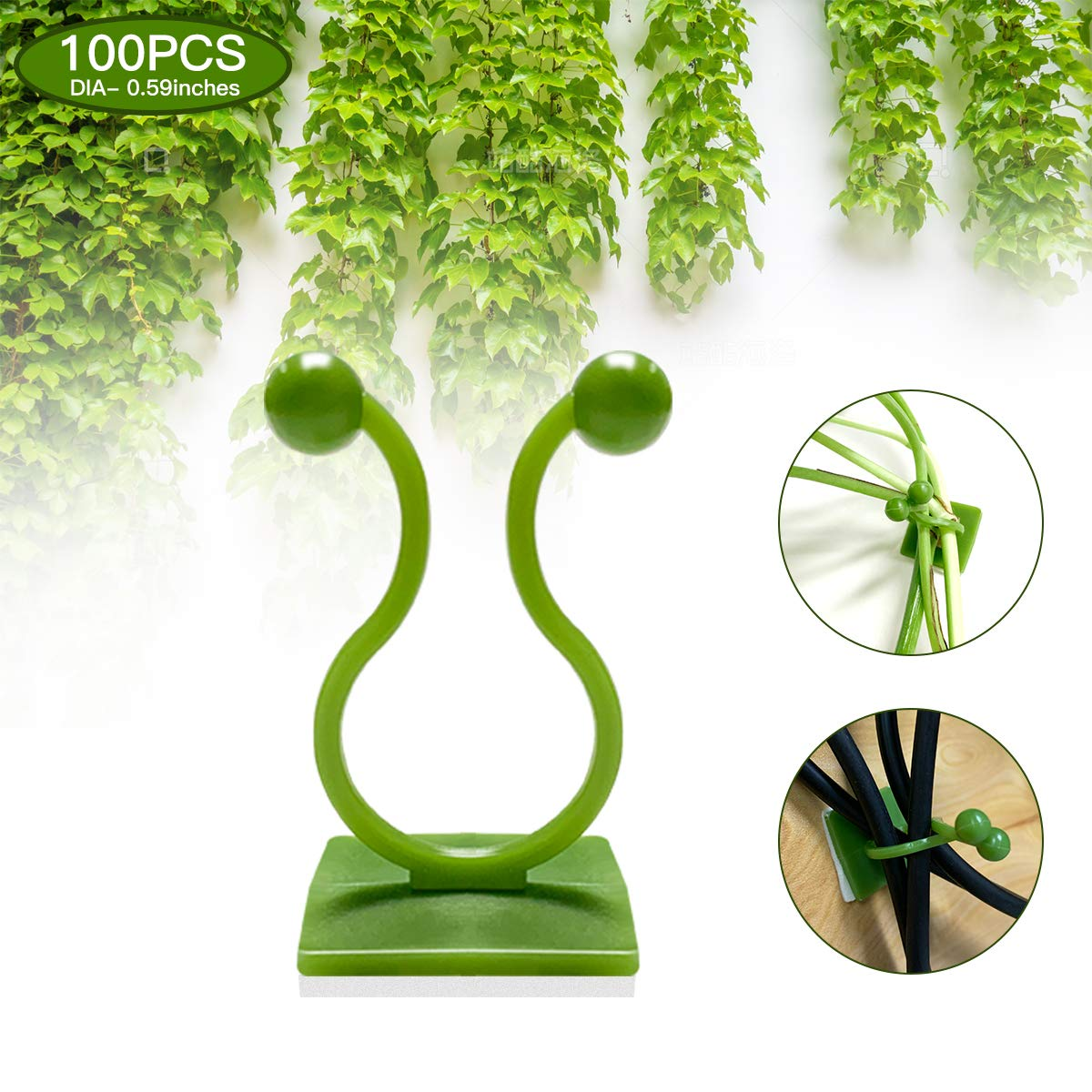lisade Plant Climbing Wall Fixture Clips, 2 in 1 Garden Plant Flower Fixer Cable Line Organizer, Self-Adhesive Hook Invisible Wall Vines Traction Fixture for Home Decoration (Medium 100 Pcs,Green)