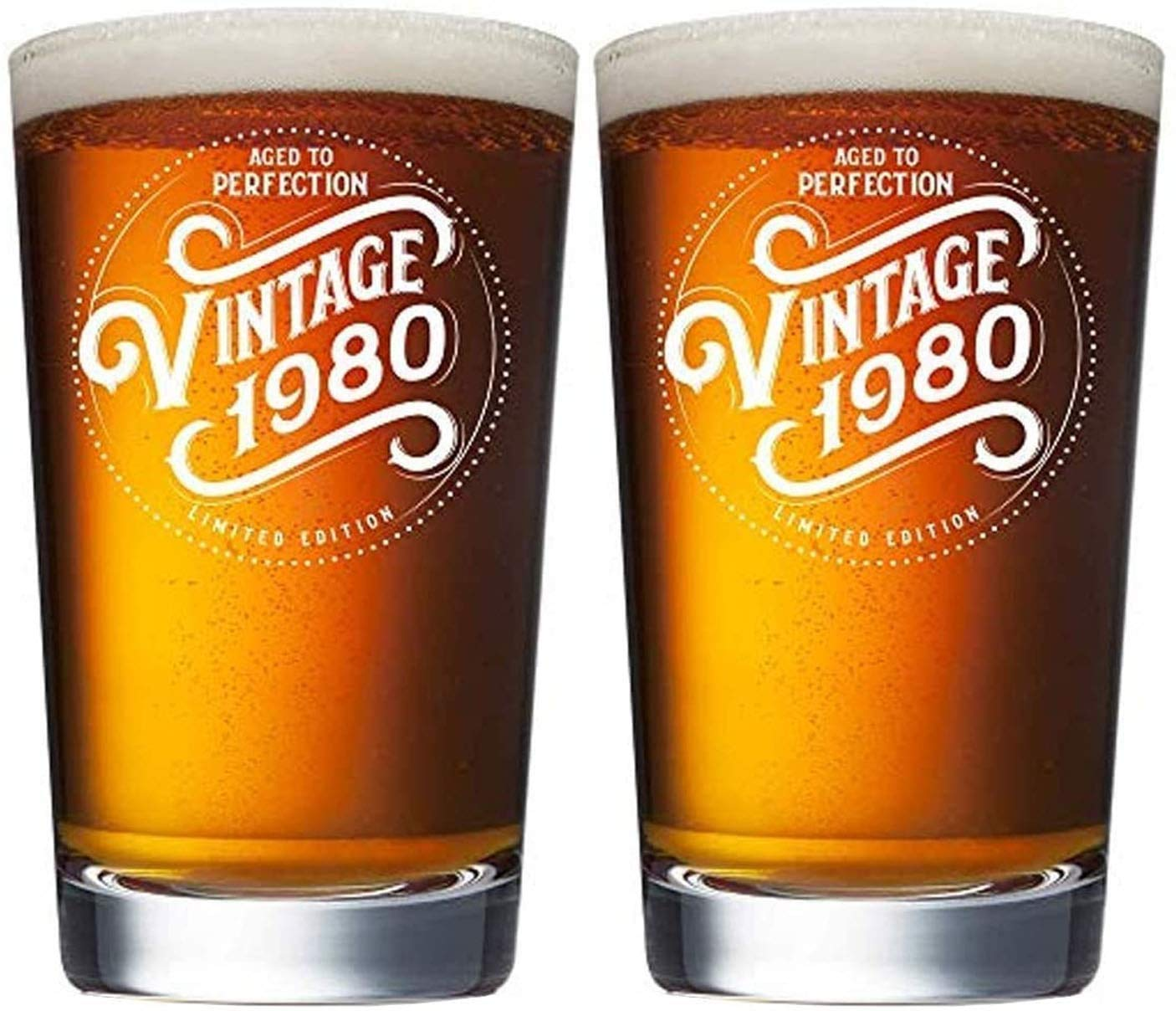 1980 40th Birthday Gifts for Men and Women Beer Glass - 16 oz (SET OF 2) Finny Vintage 40 Year Old Pint Glasses