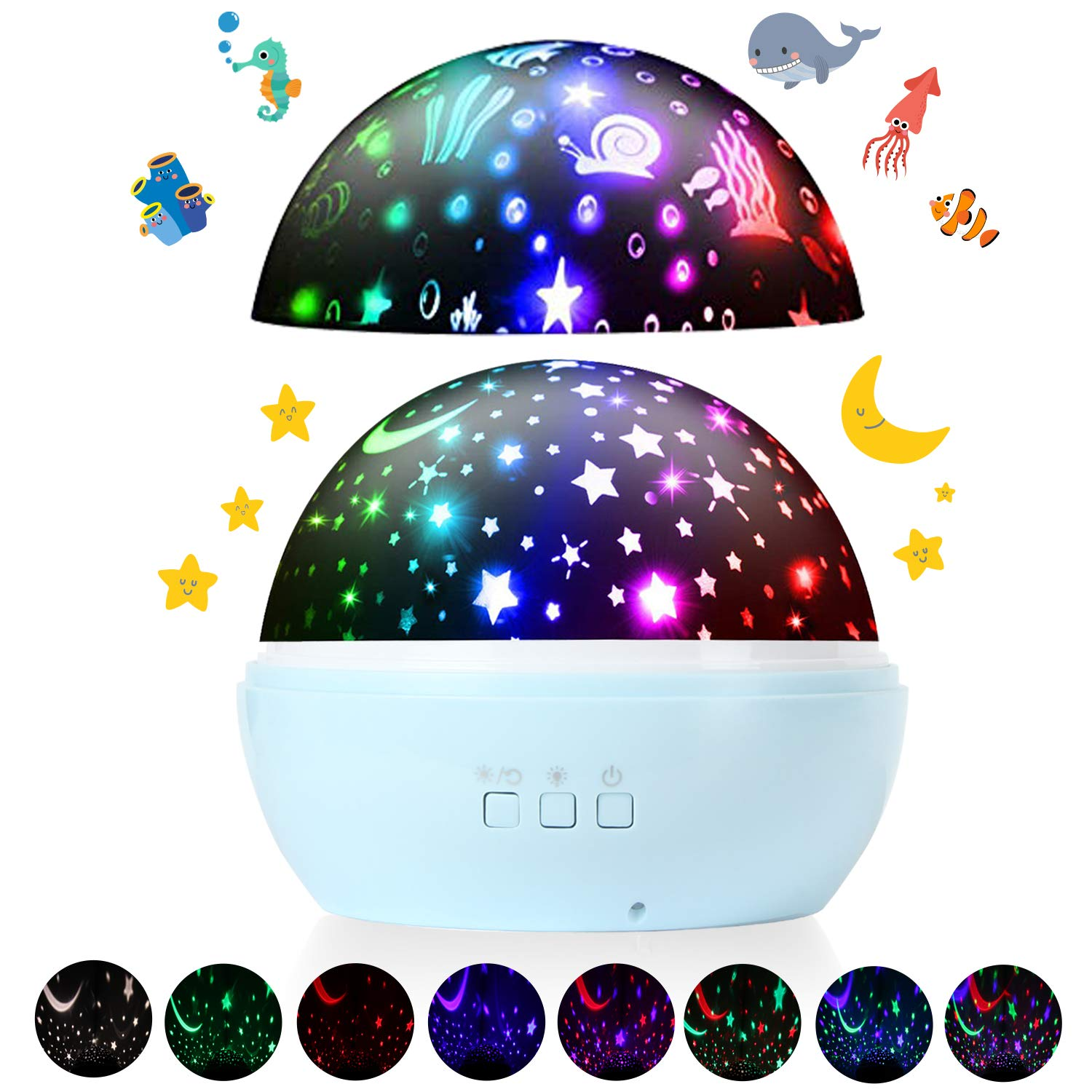 Star Projector Night Lights, 360-Degree Rotation Starry Sky & Ocean Projection LED Lamp 8 Colors Mode with USB Cable, Gifts for Adults Teens Kids Girls Boys Baby Toddler Bedroom Nursery Decor(Blue)