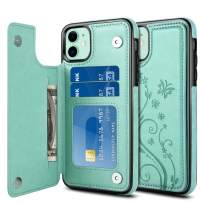Jiunai iPhone 11 Case, Flip Card Slot Holder Anti Scratch PU Leather Folio Back Wallet Cover for Cards Dual Layer Non Slip Double Magnetic Clasp Buttons Cover Case for iPhone 11 6.1 inches 2019 Green