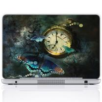 Meffort Inc 17 17.3 Inch Laptop Notebook Skin Sticker Cover Art Decal (Free Wrist pad) - Clock Butterflies