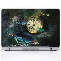 Meffort Inc 17 17.3 Inch Laptop Notebook Skin Sticker Cover Art Decal (Free Wrist pad) - Clock Butterflies