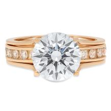 Clara Pucci 3.09 CT Round Cut Solitaire Pave Bridal Engagement Wedding Ring Sliding Band Set 14k Yellow Gold