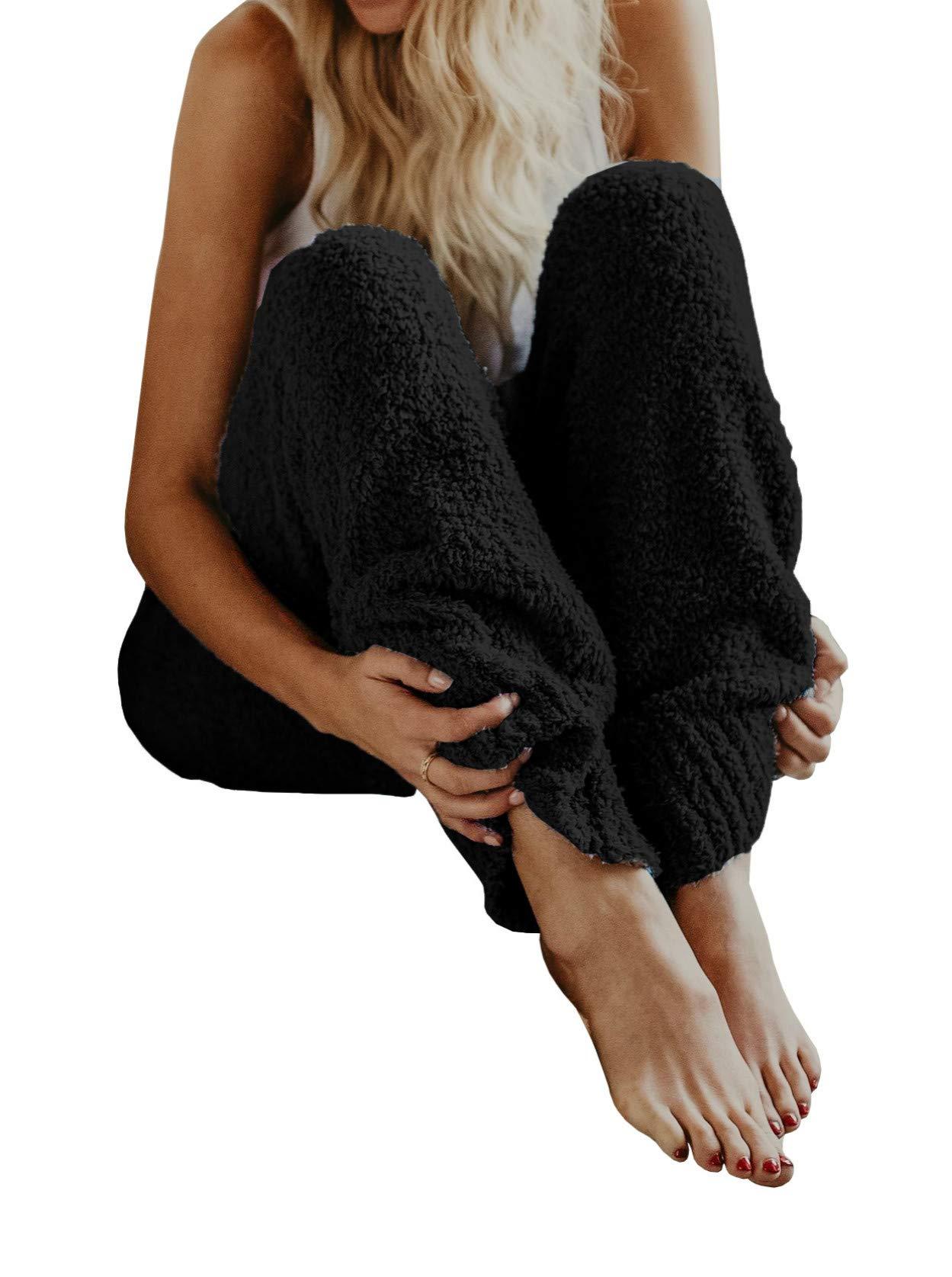 Meilidress Womens Fuzzy Fleece Pajama Pants Casual Lounge Winter Warm Cozy Plush Lounge Sleepwear PJ Bottoms