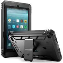 Poetic Revolution All New Amazon Fire 7 2017 Rugged Case Cover With Hybrid Heavy Duty Protection and Built-In Screen Protector and KickStand for Amazon Fire 7 2017 (7th Generation, 2017 Release) Black