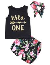 Baby Girl T-Shirt Clothes Wild One Vest and Floral Short Pants Outfits with Bowknot Headband