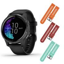 Garmin Venu GPS Smartwatch with AMOLED Display and Included Wearable4U 3 Straps Bundle (Black/Slate, Orange/Red/Teal)