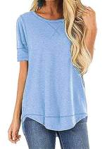 Women's Loose Fit T Shirts Cotton Casual Crew Neck Short Sleeve Tops