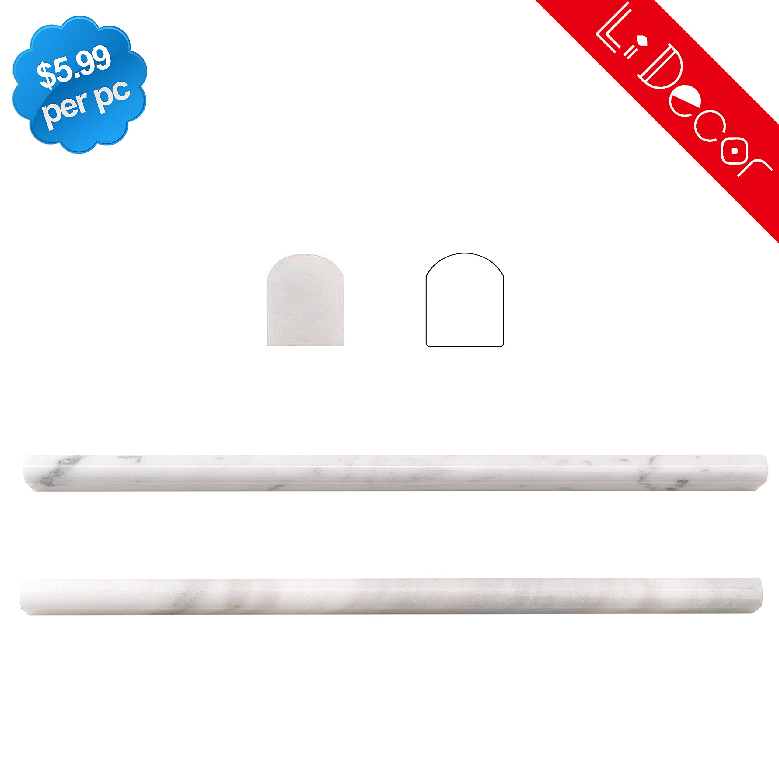 Carrara White 5 Pack 1/2in(13MM)X12in Marble Pencil Liner Polished