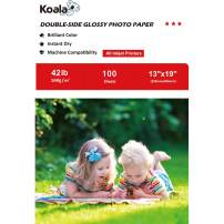 Koala Brochure Paper Double Side Glossy for Printing Photo 13X19 Inches 100 Sheets Compatible with Inkjet Printer 42LB