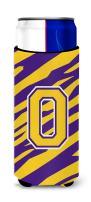 Monogram - Tiger Stripe - Purple Gold  Letter O Ultra Beverage Insulators for slim cans CJ1022-OMUK