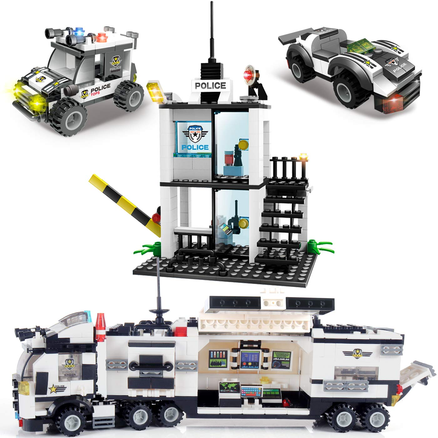 Riot City Police Building Blocks, Exercise N Play Car Command Center Station Bricks for Boys Girls Toddlers Construction Toys