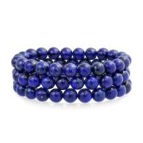 Bling Jewelry Unisex Stackable Set of 3 Gemstone Round Bead 8MM Stretch Bracelet for Women Teen Men Multi Strand Stacking Adjustable