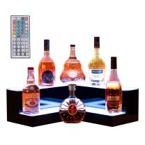 Nurxiovo 20'' 2 Step LED Liquor Bottle Display Shelf Lighted Illuminated Bottle Shelf Corner LED Display Shelf DIY Mode with LED Color Remote Control for Home Bar L19-3/5xW19-3/5xH6-3/5''
