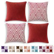 """HPUK Set of 4 Decorative Throw Pillow Covers Geometric Design Cushion Pillowcases for Couch Sofa Bed Car, 17""""x17"""", Wine"""