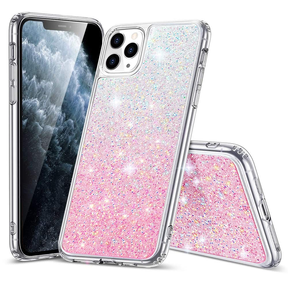 ESR Glitter Crystal Designed for iPhone 11 Pro Case, Glamour Series Sparkling Crystal Cover [Flexible TPU Frame + Hard PC Back] [Supports Wireless Charging] for iPhone 11 Pro 5.8-Inch (2019), Pink