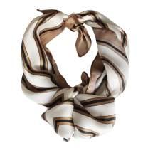 "Share Maison 100% Silk Scarves Real Natural Silk 20""x20"" Fashion Striped Accessory for Sleeping Hair Wrap Vintage Bandana"