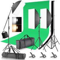 Neewer 2.6x3 Meters Backdrop Stand Support System with (3) 1.8 x 2.8M Musline Backdrop (3) 45W Bi-Color Dimmable LED Softbox Lighting Kit for Photo Studio Product Portrait Photography and Video Shoot