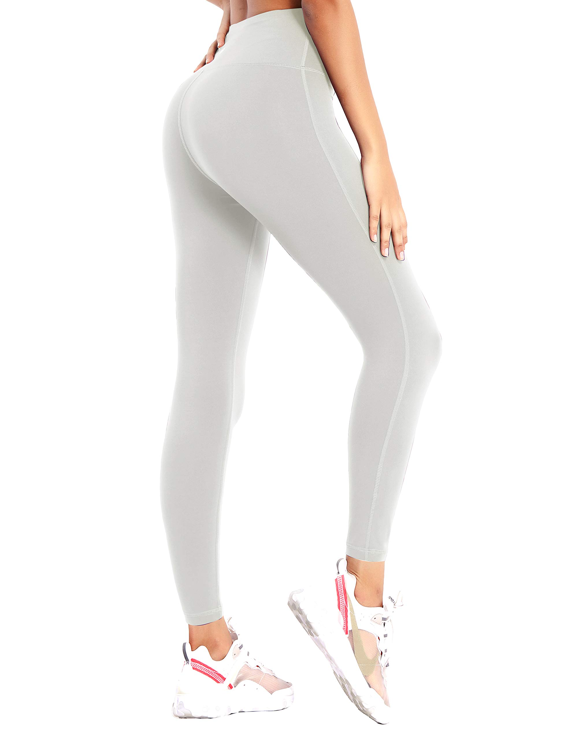 "BUBBLELIME 22""/26""/28"" High Waist Yoga Pants with Inner Pocket - Single Line Pants_LightGray X-Small-26 Inseam"