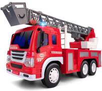 Gizmovine Fire Truck Toy with Lights and Sounds, Extending Rescue Rotating Ladder Pull Back Construction Vehicles Toys Gift for 2, 3, 4, 5, 6 Year Olds Boys, 1:16 Scale