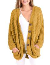 OHDREAM Womens Plus Size Chunky Cable Knit Cardigan Sweaters Oversized Button Down V Neck Batwing Long Sleeve with Pockets