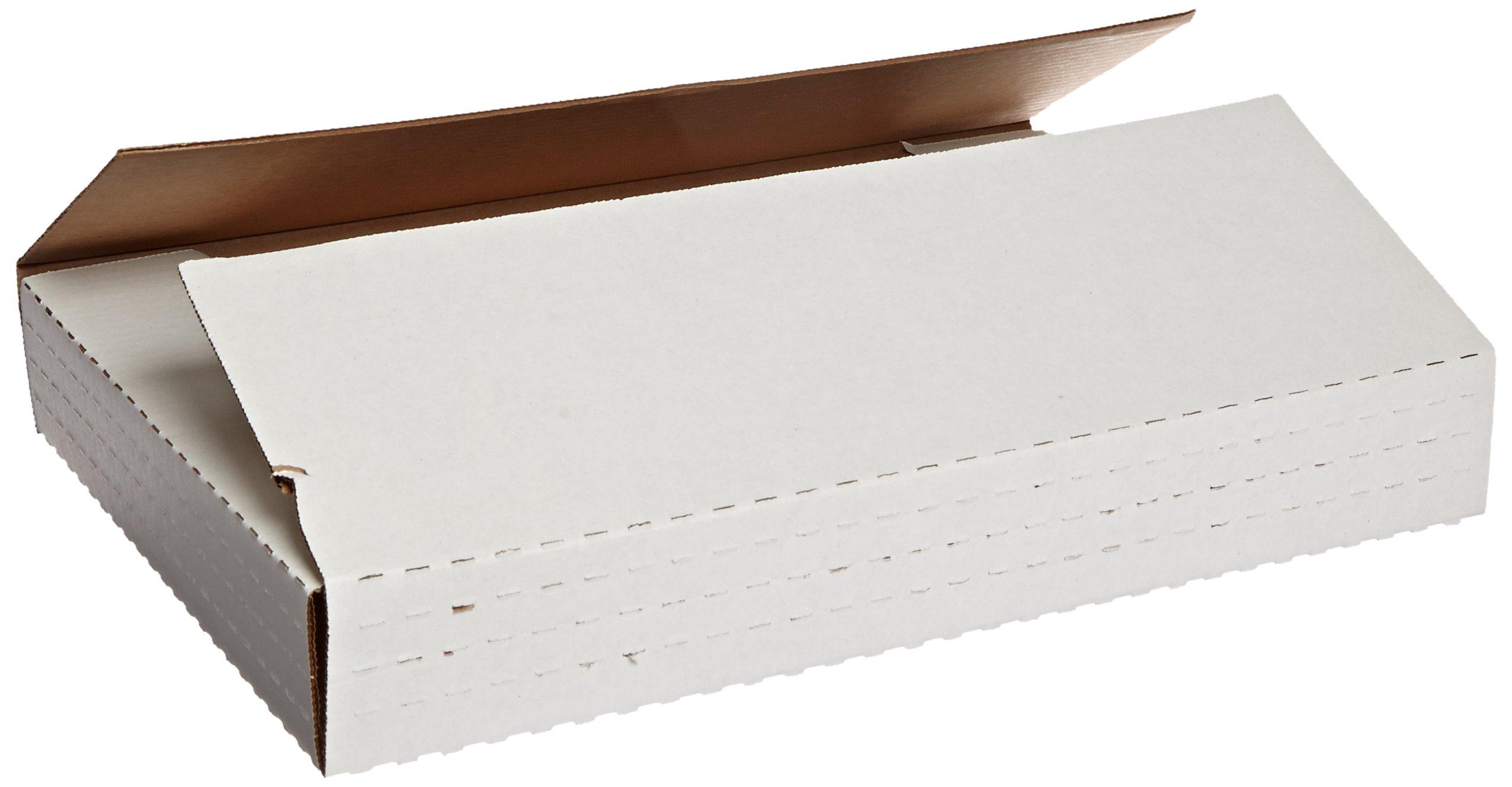 "Aviditi MIBMROS Corrugated Easy-Fold Mailer, 15"" Length x 11-1/8"" Width x 2"" Height, White (Bundle of 50)"
