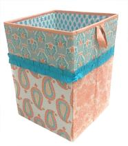Bacati - Paisley Kids Storage (Collapsible Hamper 14 x 14 x 19 inches, Coral/Aqua)