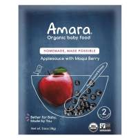 Amara Organic Baby Food | Applesauce & Maqui Berry | Homemade Made Possible | Mix with Breastmilk, Formula or Water | Certified Organic, Non-GMO, No Added Sugars| Stage 2 - Babies 7 Months+ |5 Pouches