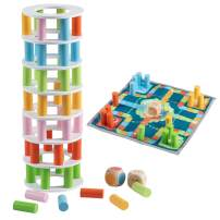 Joqutoys Colored Wooden Stacking Tower Game, Toppling Tower Balancing Toy, 48 PCS Building Blocks with 2 Dices and 1 Checkerboard for Adult, Kids, Family