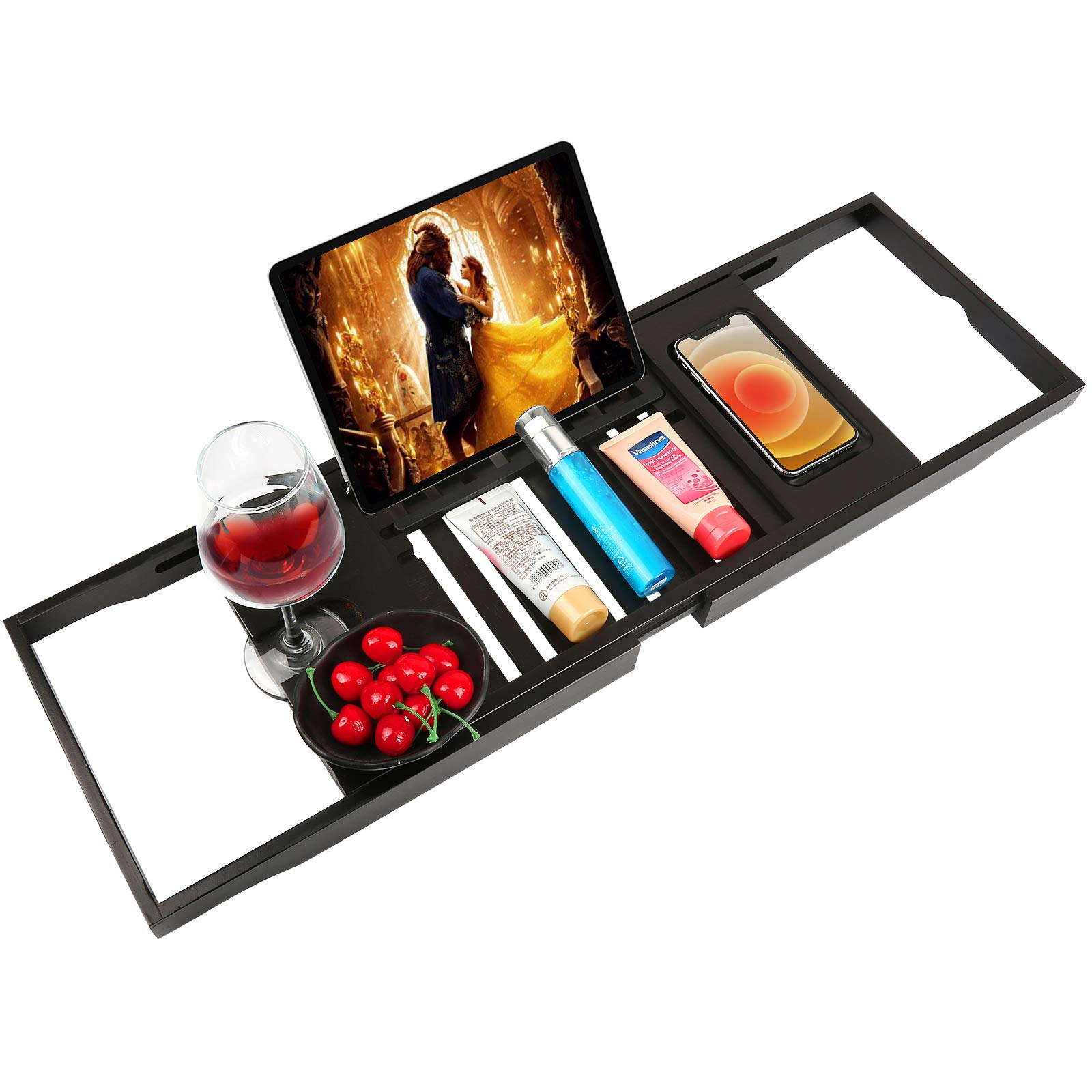 Bathtub Tray Bamboo Bathtub Caddy Tray with Extending Sides Adjustable Book Holder with Premium Luxury Tray Organizer for Phone and Wineglass (Black)