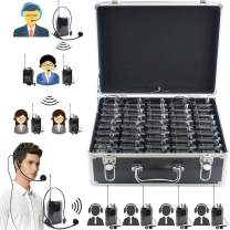 EXMAX EX-938 Wireless Headset Microphone Audio Tour Guide System for Church Translation Teaching Travel Simultaneous Interpretation.(1 Transmitter 60 Receivers with Black Aluninum Storage Case)