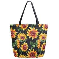 ZzWwR Chic Beautiful Lifelike Luxuriant Sunflowers Pattern Extra Large Canvas Beach Travel Reusable Grocery Shopping Tote Bag Portable Storage HandBag