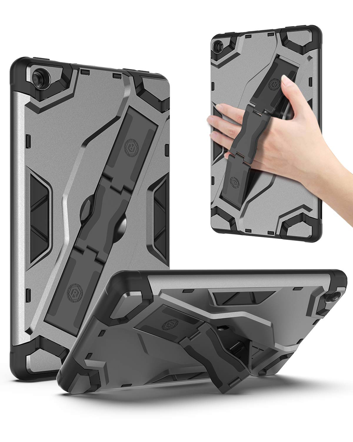 ROISKIN All-New Amazon Fire 7 Tablet Case (9th Generation, 2019 Release) [Kickstand/Hand Strap] Full-Body Shockproof Rugged Impact Resistant Soft TPU with Stand Protective Kinlde Fire 7 Case - Black