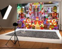 Laeacco 8x6ft Vinyl Photography Backdrop Outdoor Christmas Decoration Snowman and Nutcracker Lights up House in Brooklyn New York Lighting Dolls Snowman Happy New Year Children Baby Adults Backdrop