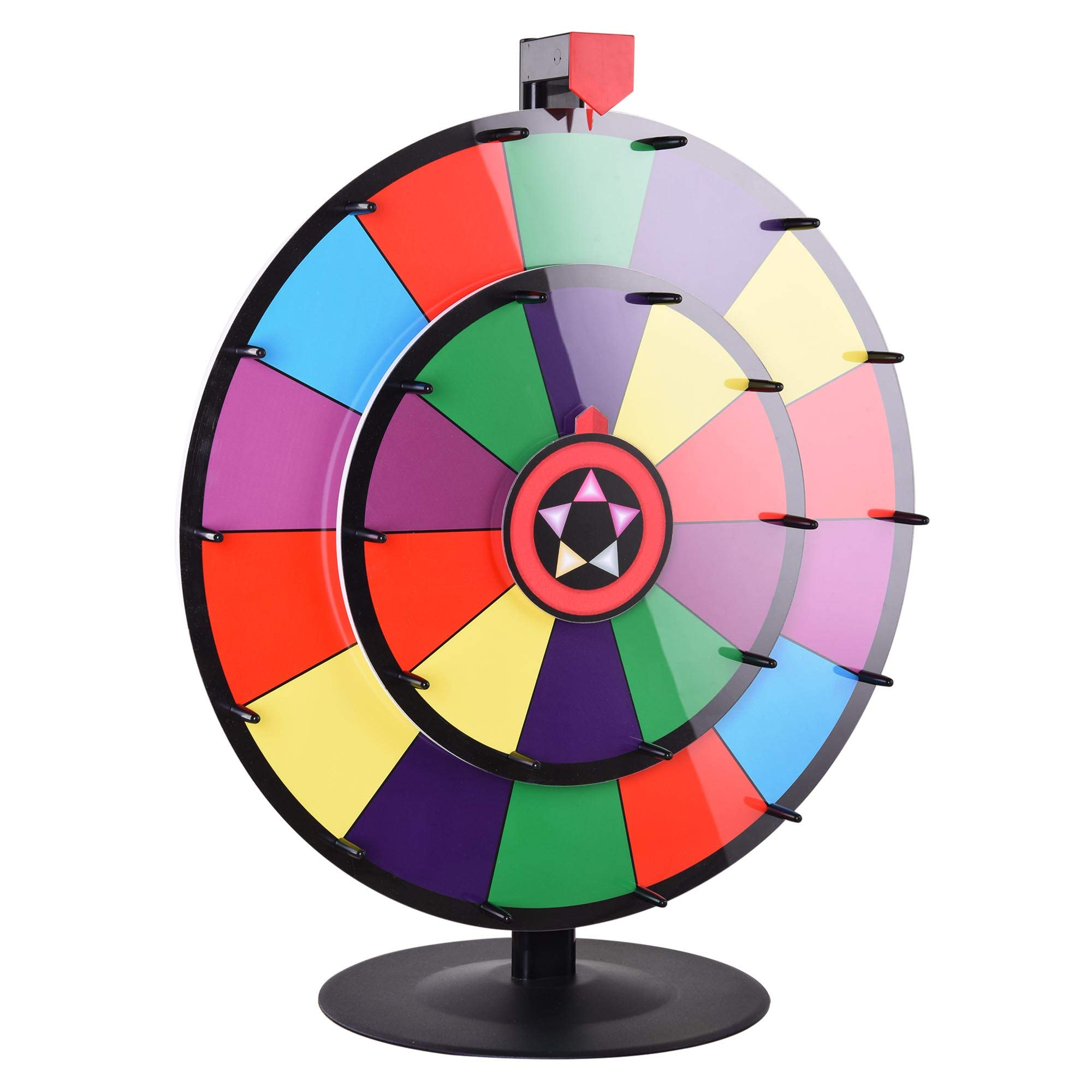 """WinSpin 24"""" Tabletop Spinning Prize Wheel Dual Wheels Editable Dry Erase Color Slot Tradeshow Fortune Spin Game"""