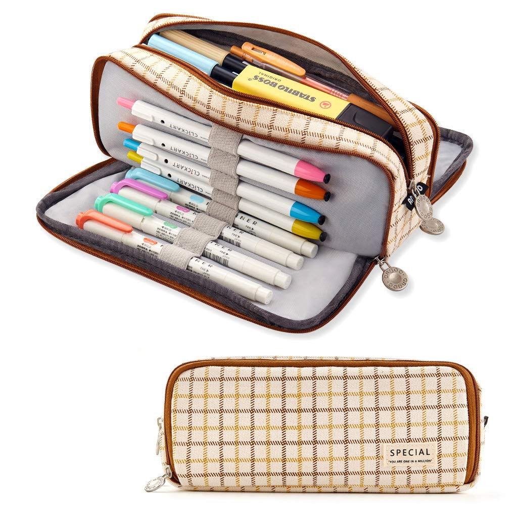 ANGOOBABY Large Pencil Case Big Capacity Pencil Pouch 3 Compartments Pencil Bag for Teen Boys Girls School Students (Brown)