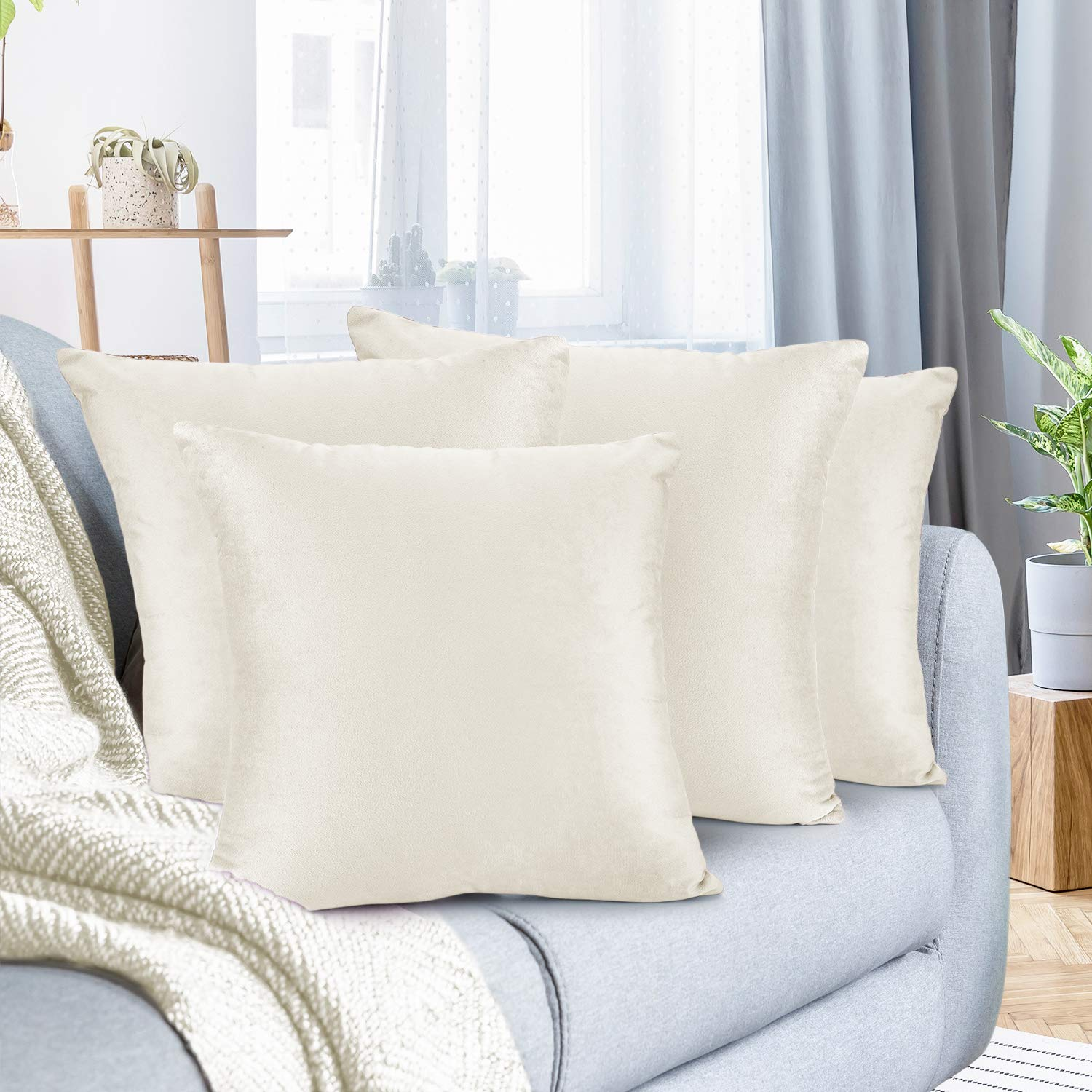 """Nestl Bedding Throw Pillow Cover 18"""" x 18"""" Soft Square Decorative Throw Pillow Covers Cozy Velvet Cushion Case for Sofa Couch Bedroom, Set of 4, Off White"""