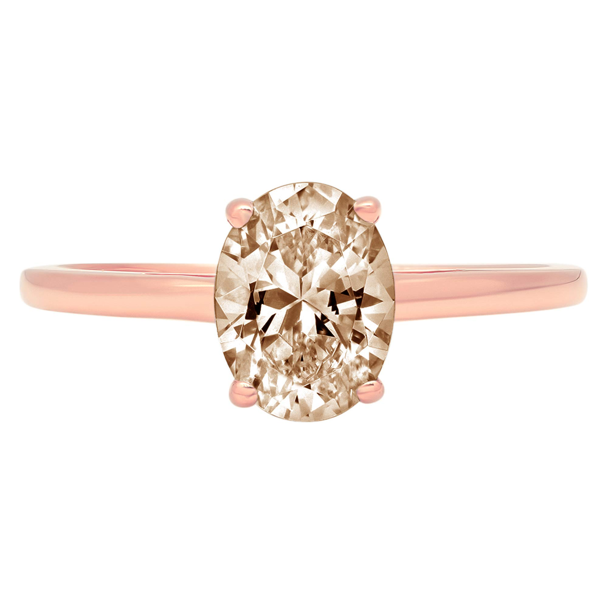 1.0 ct Brilliant Oval Cut Solitaire Brown Champagne Simulated Diamond CZ Ideal VVS1 D 4-Prong Engagement Wedding Bridal Promise Anniversary Ring Solid Real 14k Rose Gold for Women