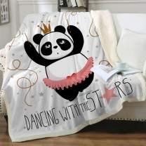 "Sleepwish Red Dress Panda Blanket Sherpa Throw Kawaii Panda Ballet Dancer Fleece Lined Blanket Winter Couch Blanket Chiristmas Gifts for Women Girls Super Soft Blanket (50"" X 60"")"