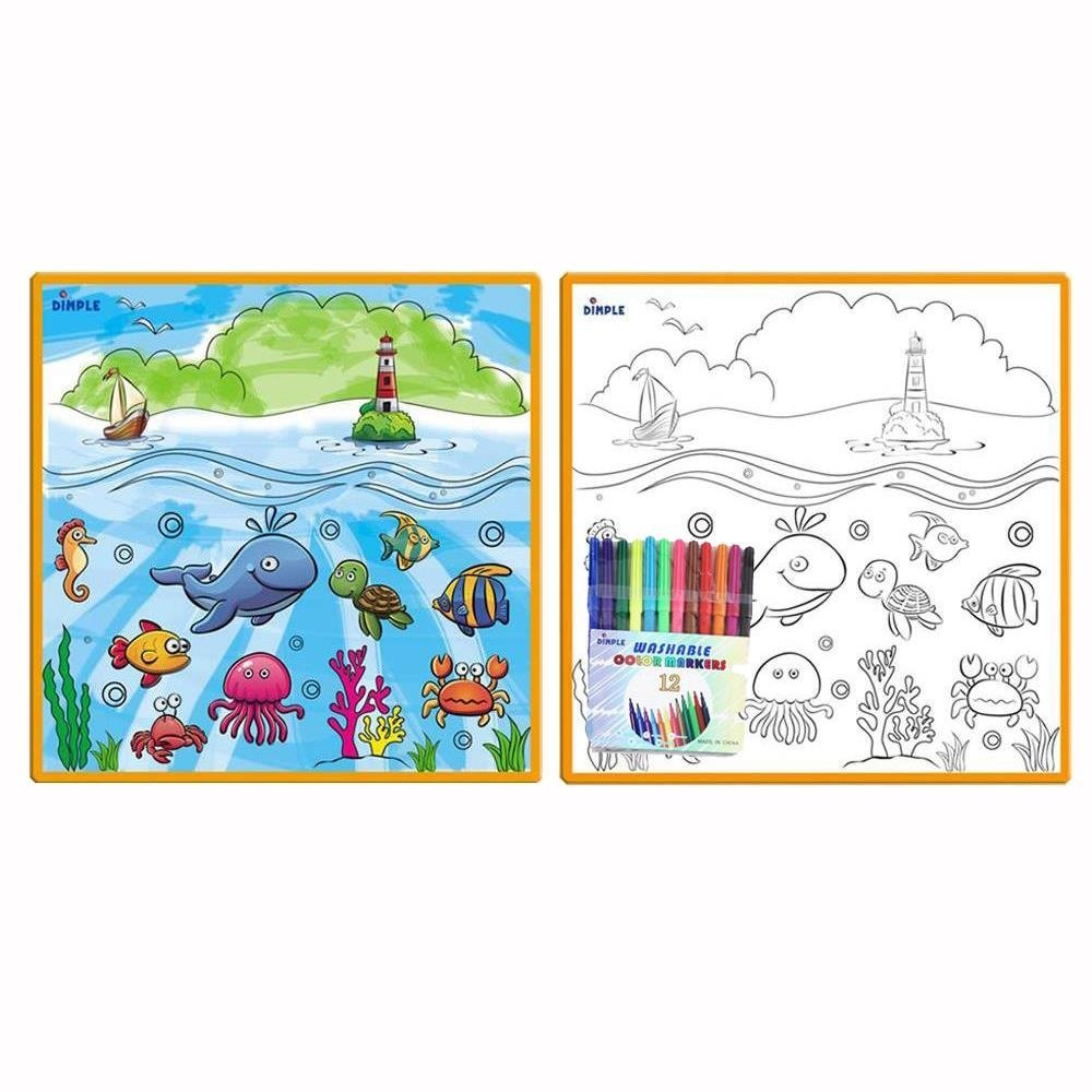 Kids Small Washable Coloring Play Mat with 'Fantastic Sea Life' Design, Along with 12 Washable Markers, 'the Perfect Alternative for Coloring Books' Great for Boys & Girls by Dimple