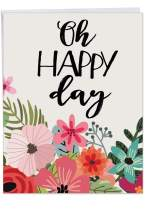 8.5 x 11 Inch Birthday Card 'Optimisms' - Big, Bold and Beautiful Floral Bday Wishes for Her - Big Flower Greeting Card with Envelope - Stationery Notecard for Mother, Wife, Woman J6631GBDG