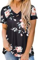 Womens Plus Size Top Short Sleeve Floral Blouses V Neck T Shirts Summer Buttons Tunic Tops