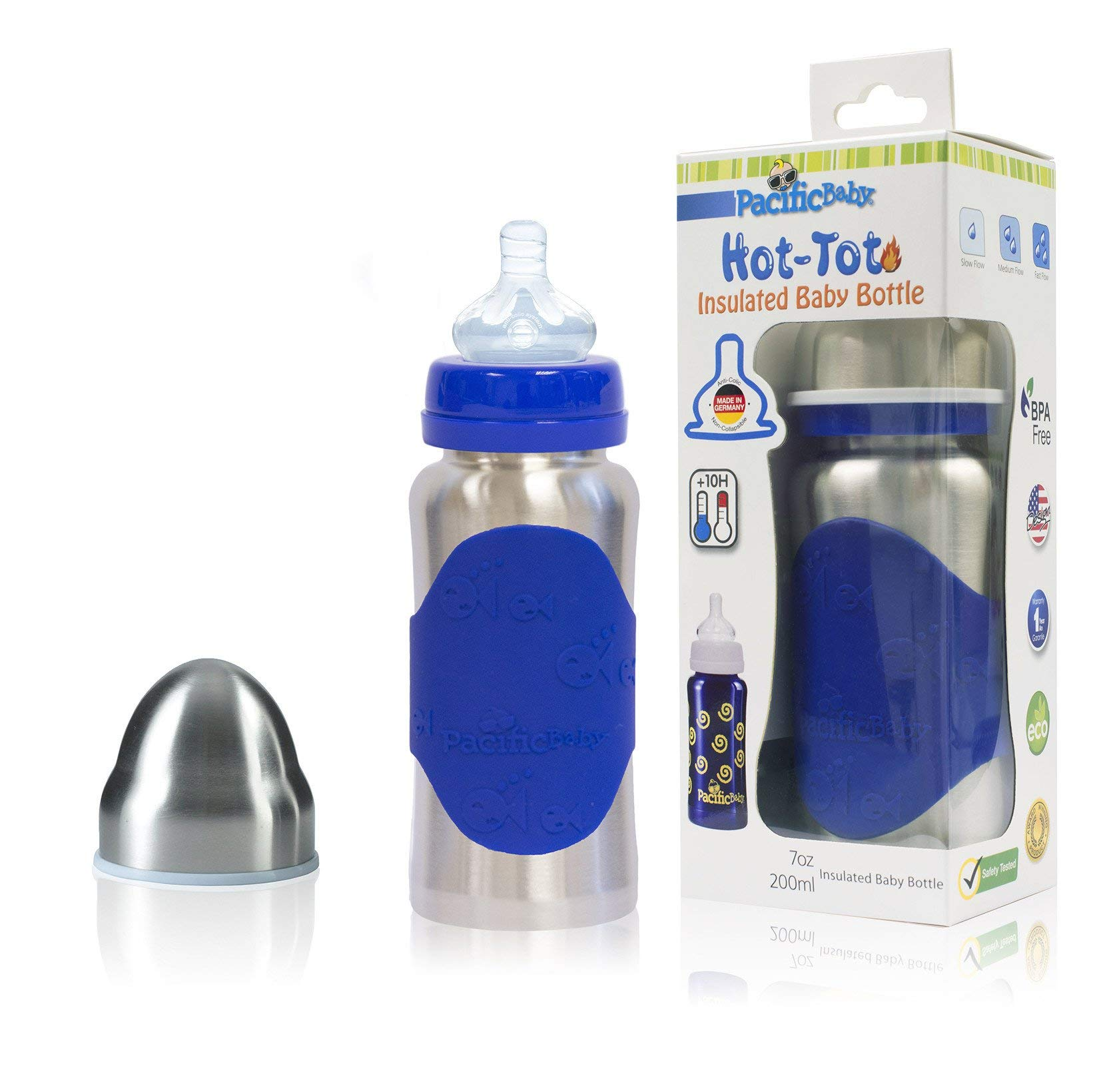 Pacific Baby Hot-Tot Insulated Stainless Steel Infant Baby Eco Feeding Bottle Anti-Colic Nipple 7 Ounce (Blue)