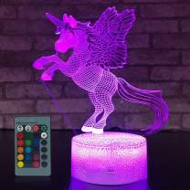 Unicorn Gifts for Girls,Unicorn Night Light Unicorn Gifts 16 Colors Change with Remote Control Optical Illusion Kids Lamp As a Gift Ideas for Kids and Girls Birthday Gifts