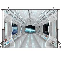LYWYGG 7x5ft Vinyl Spaceship Interior Background Futuristic Science Fiction Photography Backdrops Spacecraft Cabin Photo Shoot Studio Props Astronomy Universe Galaxy Outer Space Station CP-36